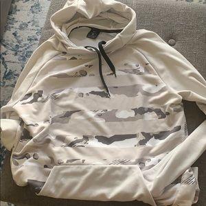 Nike Dri-Fit Silver Pullover Print Hoodie Sz L
